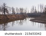 Landscape River And Trees With...