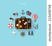 world travel concept background.... | Shutterstock .eps vector #215658748