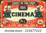 grunge retro cinema poster.... | Shutterstock .eps vector #215677222