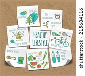 healthy lifestyle background  | Shutterstock .eps vector #215684116