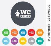 wc women toilet sign icon....   Shutterstock .eps vector #215695102