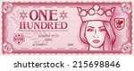 one hundred abstract banknote  | Shutterstock .eps vector #215698846