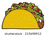 taco   mexican food  | Shutterstock .eps vector #215698912