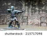 The Statue Of Robin Hood at Nottingham Castle, Nottingham, UK