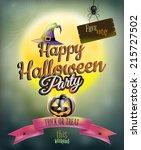 happy halloween party poster.... | Shutterstock .eps vector #215727502
