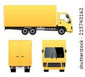 yellow cargo truck   Shutterstock .eps vector #215743162