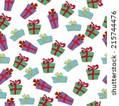seamless pattern with christmas ... | Shutterstock .eps vector #215744476