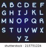 neon blue alphabet vector | Shutterstock .eps vector #215751226