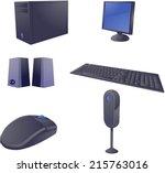 computer set in 3d vector