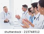 doctors applauding a fellow...   Shutterstock . vector #215768512