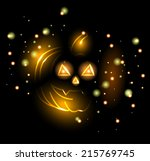 gloomy glowing pumpkin.... | Shutterstock .eps vector #215769745