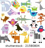 vector set of new geo animals 23 | Shutterstock .eps vector #21580804