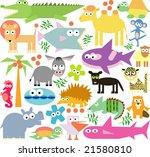 vector set of new geo animals 25 | Shutterstock .eps vector #21580810