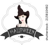 halloween typography and witch... | Shutterstock .eps vector #215810482