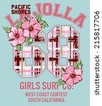 la jolla girl surfing  vector... | Shutterstock .eps vector #215817706