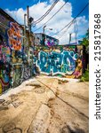Graffiti On Walls In An Alley...