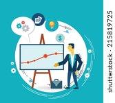 businessman presents a graph... | Shutterstock .eps vector #215819725