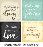 4 hand written inspirational... | Shutterstock .eps vector #215826172
