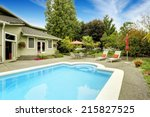backyard with swimming pool and ... | Shutterstock . vector #215827525