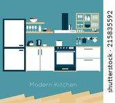 kitchen interior vector... | Shutterstock .eps vector #215835592
