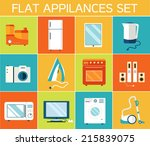 flat modern kitchen appliances... | Shutterstock .eps vector #215839075