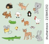 set of various cartoon animals... | Shutterstock .eps vector #215845252