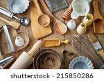 various kitchen utensils on... | Shutterstock . vector #215850286