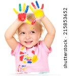 portrait of a cute little girl... | Shutterstock . vector #215853652