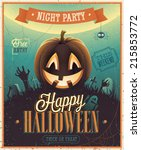happy halloween poster. vector... | Shutterstock .eps vector #215853772