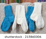 wool socks hanging on simple... | Shutterstock . vector #215860306