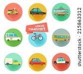 transport flat vector icons on... | Shutterstock .eps vector #215863312
