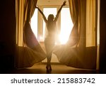 woman in the morning.... | Shutterstock . vector #215883742