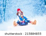 young happy mother and her... | Shutterstock . vector #215884855