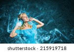 young lady in blue dress with... | Shutterstock . vector #215919718