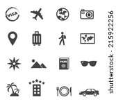 travel and holiday icons  mono... | Shutterstock .eps vector #215922256