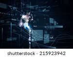 young running man against... | Shutterstock . vector #215923942