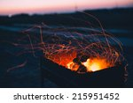 Coal Burning In Camp Fire At...