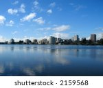 View of Oakland from Lake Merritt, California - stock photo