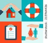 vector insurance concepts in... | Shutterstock .eps vector #215964436