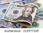 close up detail twenty dollar  | Shutterstock . vector #215977105