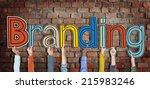 multiethnic group of hands... | Shutterstock . vector #215983246
