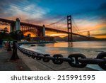 burning sky over golden gate... | Shutterstock . vector #215991595