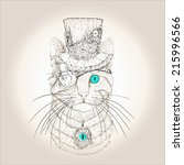 steampunk cat in the hat and... | Shutterstock .eps vector #215996566