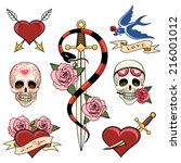 various heart  skull and dagger ... | Shutterstock .eps vector #216001012
