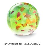 Glass Ball With Autumn Leaves