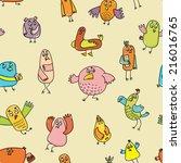 bird doodle vector background | Shutterstock .eps vector #216016765