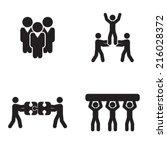 Set Of Four Teamwork Icons