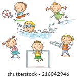 little kids and their sports... | Shutterstock .eps vector #216042946