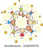 happy kids in a circle | Shutterstock .eps vector #216044476