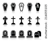 halloween  graveyard icons set  ... | Shutterstock .eps vector #216055105